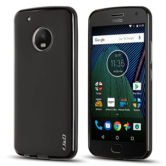 buy popular 772e3 6e5ec J&D Case Compatible for Moto G5 Plus Case, [Drop Protection] [Slim Cushion]  Shock Resistant Protective TPU Slim Case for Motorola Moto G5 Plus (5.2