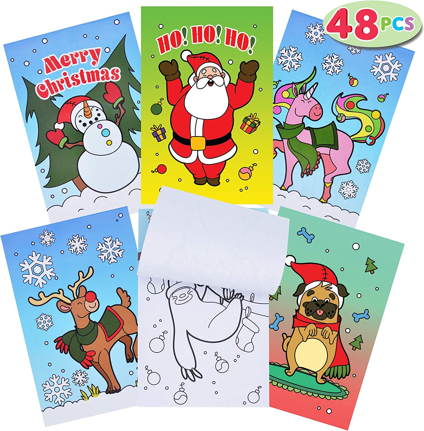 JOYIN 48 Set Holiday Christmas Coloring Book in 6 Covers Great Gift for Kids Girls and Boys, Holiday Presents and Party Favors