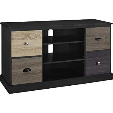 Ameriwood Home Altra Blackburn 50  TV Console with Multicolored Door Fronts, Black