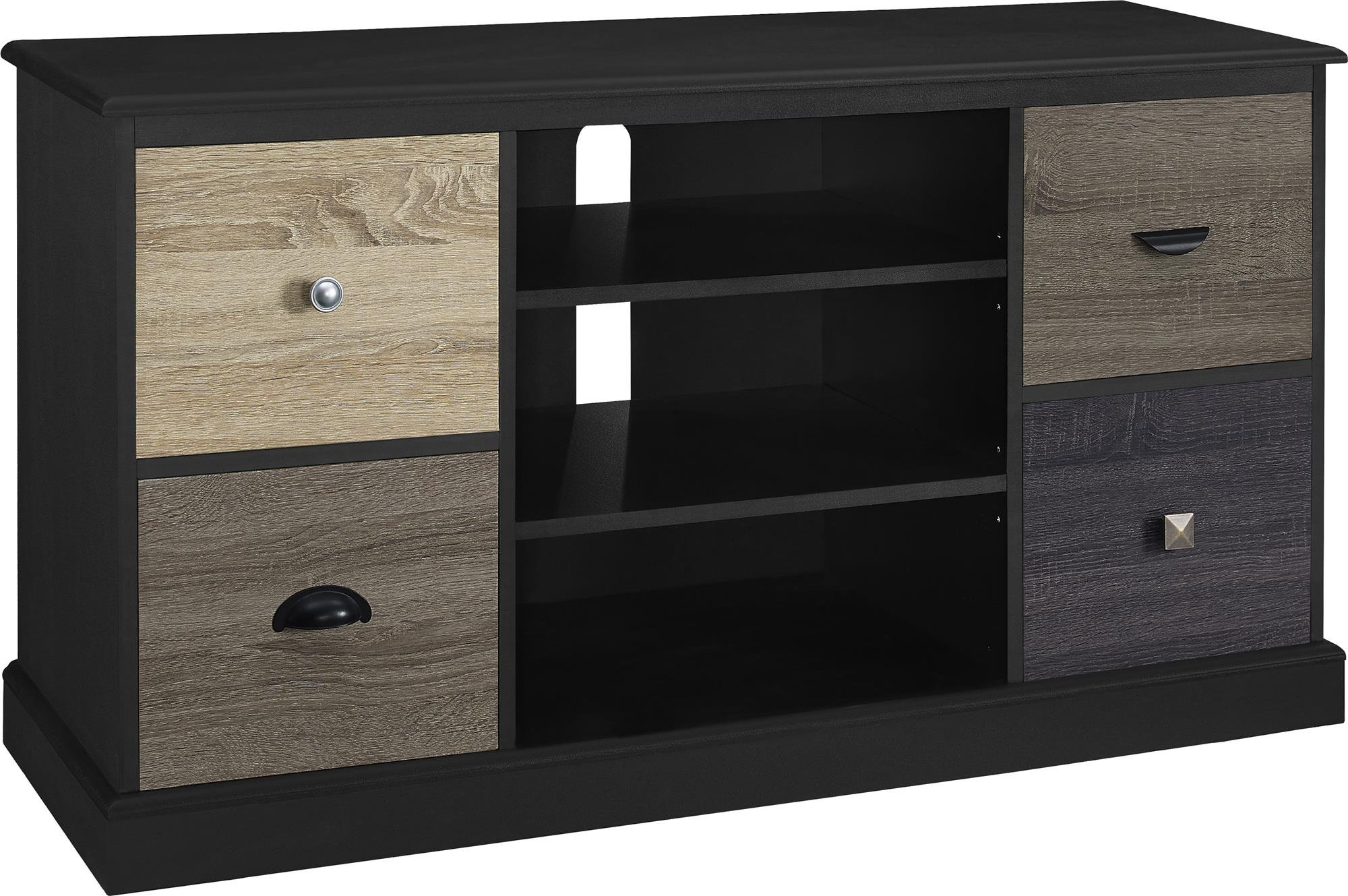 Ameriwood Home Blackburn 50'' TV Console with Multicolored Door Fronts (Black)