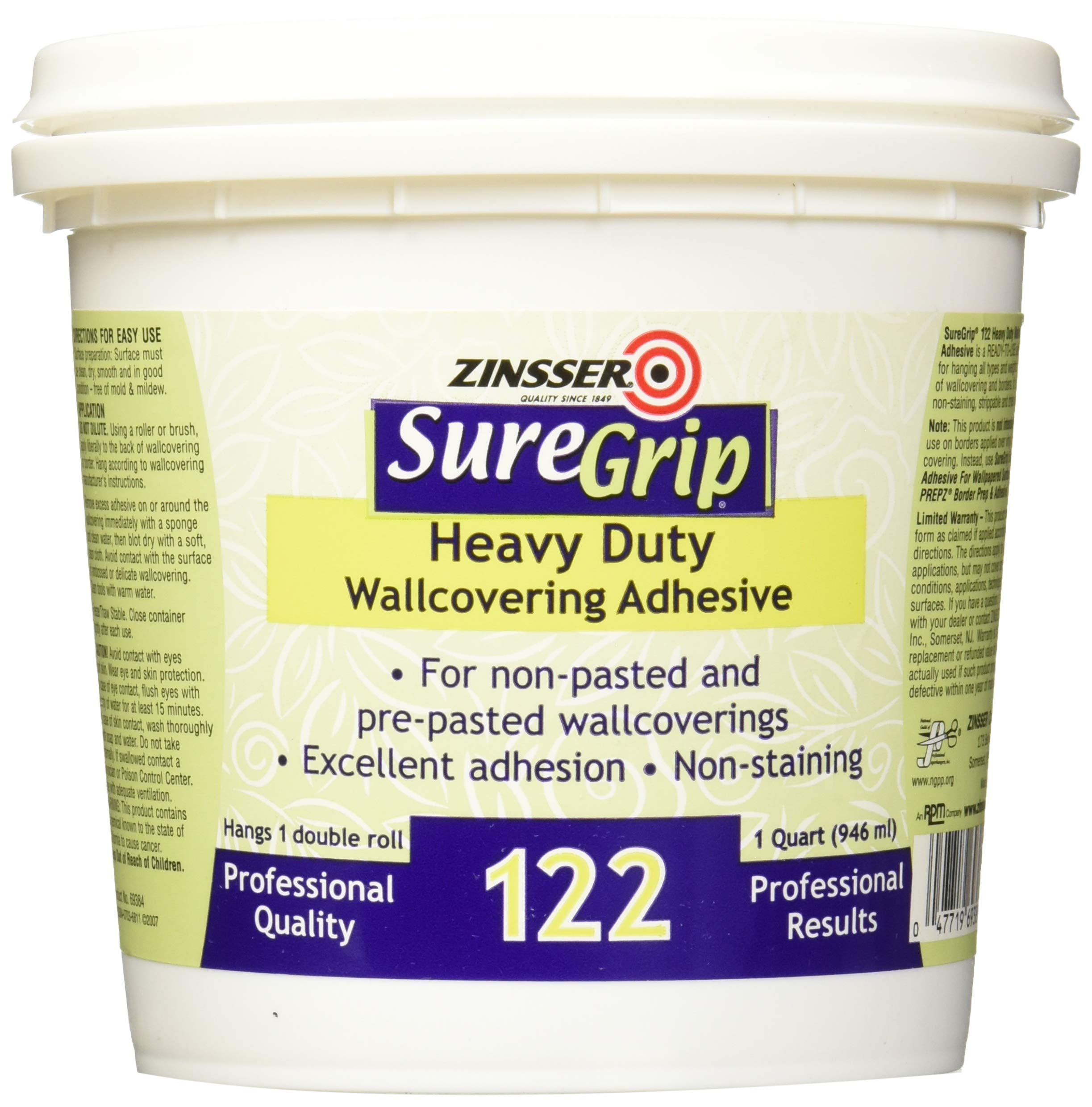 Rust-Oleum Clear 69384 1-Quart SureGrip 122 Heavy Duty Strippable Wallpaper Adhesive, 1 Pack by Rust-Oleum