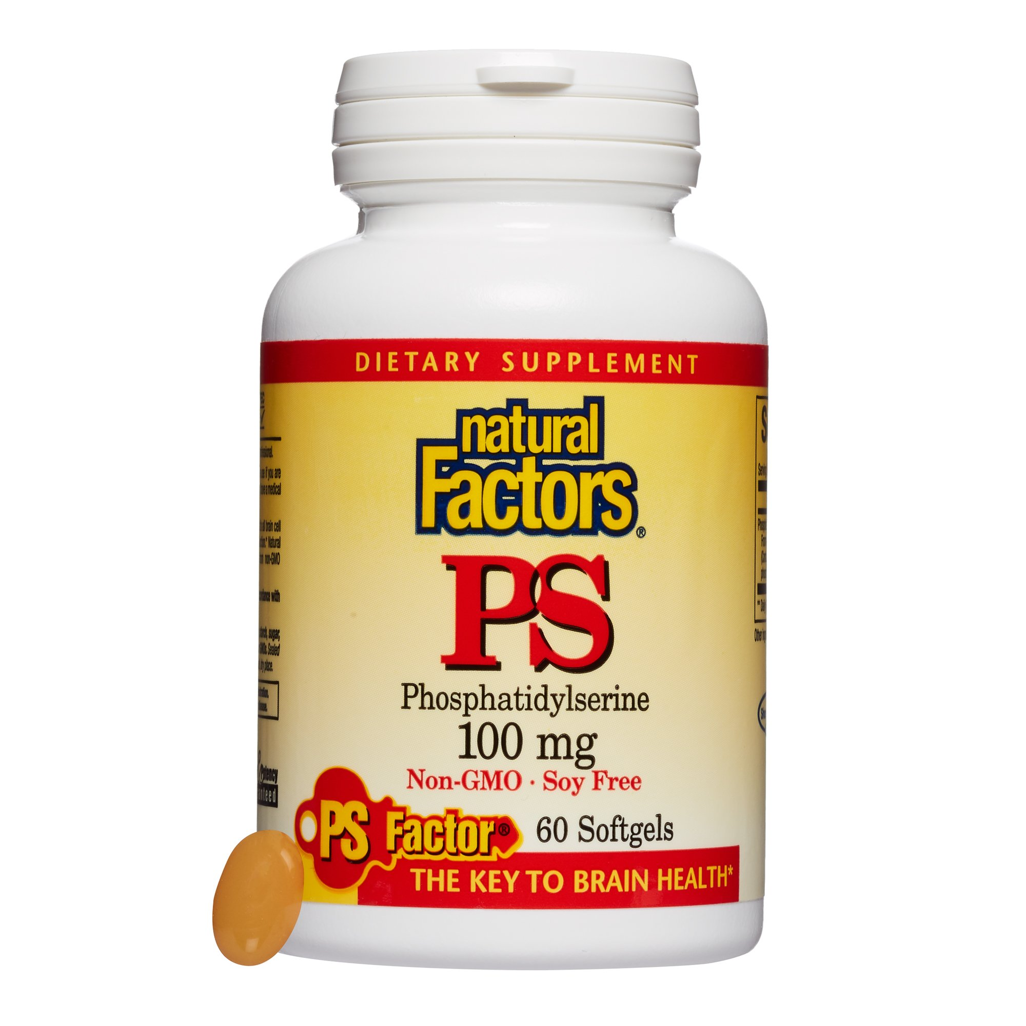 Natural Factors, PhosphatidylSerine (PS) 100 mg, Supports Healthy Brain Function with Non-GMO Sunflower Lecithin, 60 softgels (60 servings) by Natural Factors