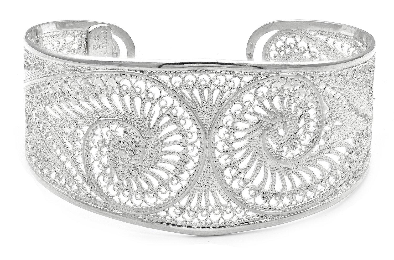 S.Michael Designs Artisan Crafted Filigree Cuff Silver Bracelet- Adjustable