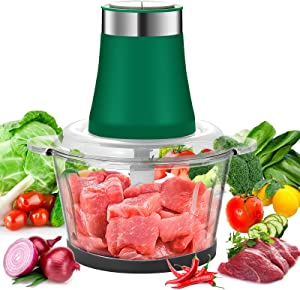 Food Chopper,8-Cup Electric Food Processors,2L Glass Bowl Blender Grinder For Meat,Vegetables, Fruits,Nuts Fast & Slow 2 Speeds,Stainless Steel Motor Unit and 4 Sharp Blades,300W,Green