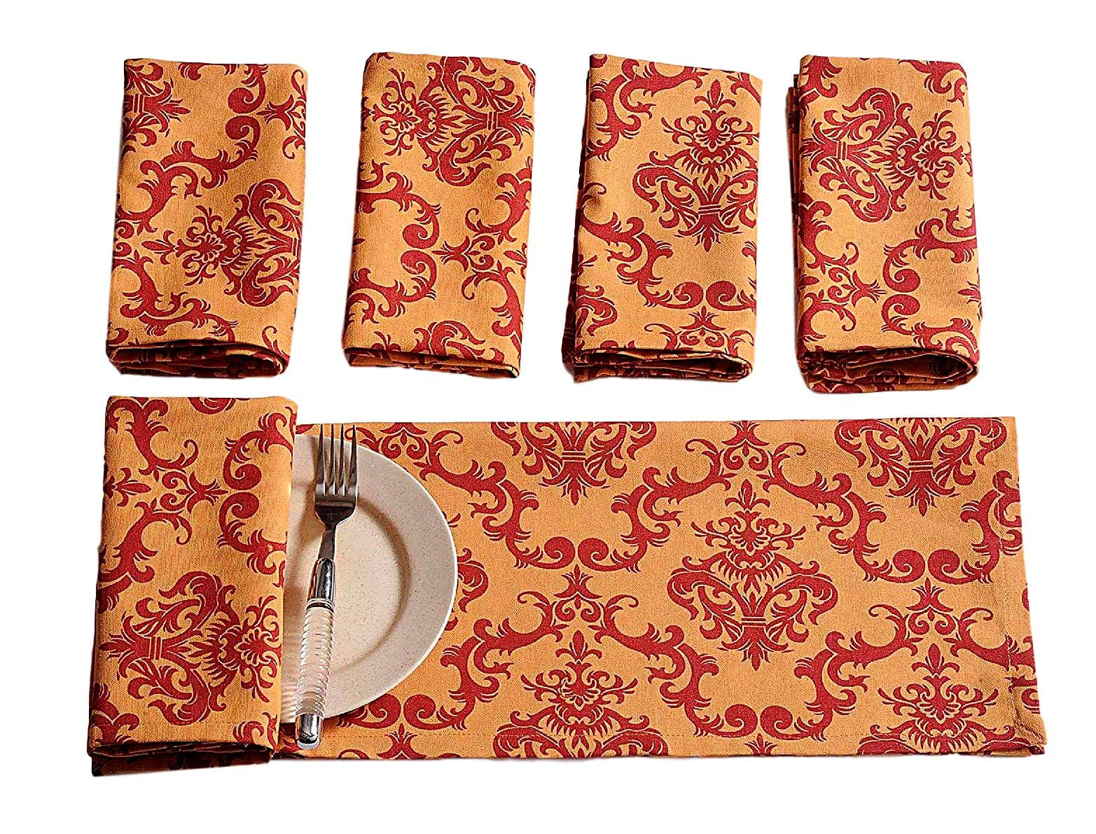 Premium Cotton Cloth Napkins Set Of 6 Size 16 X 16 Inches Colored Red Motif Personalized Kitchen Dinner Table Wedding Party Décor Indian Home Dinning Decorations