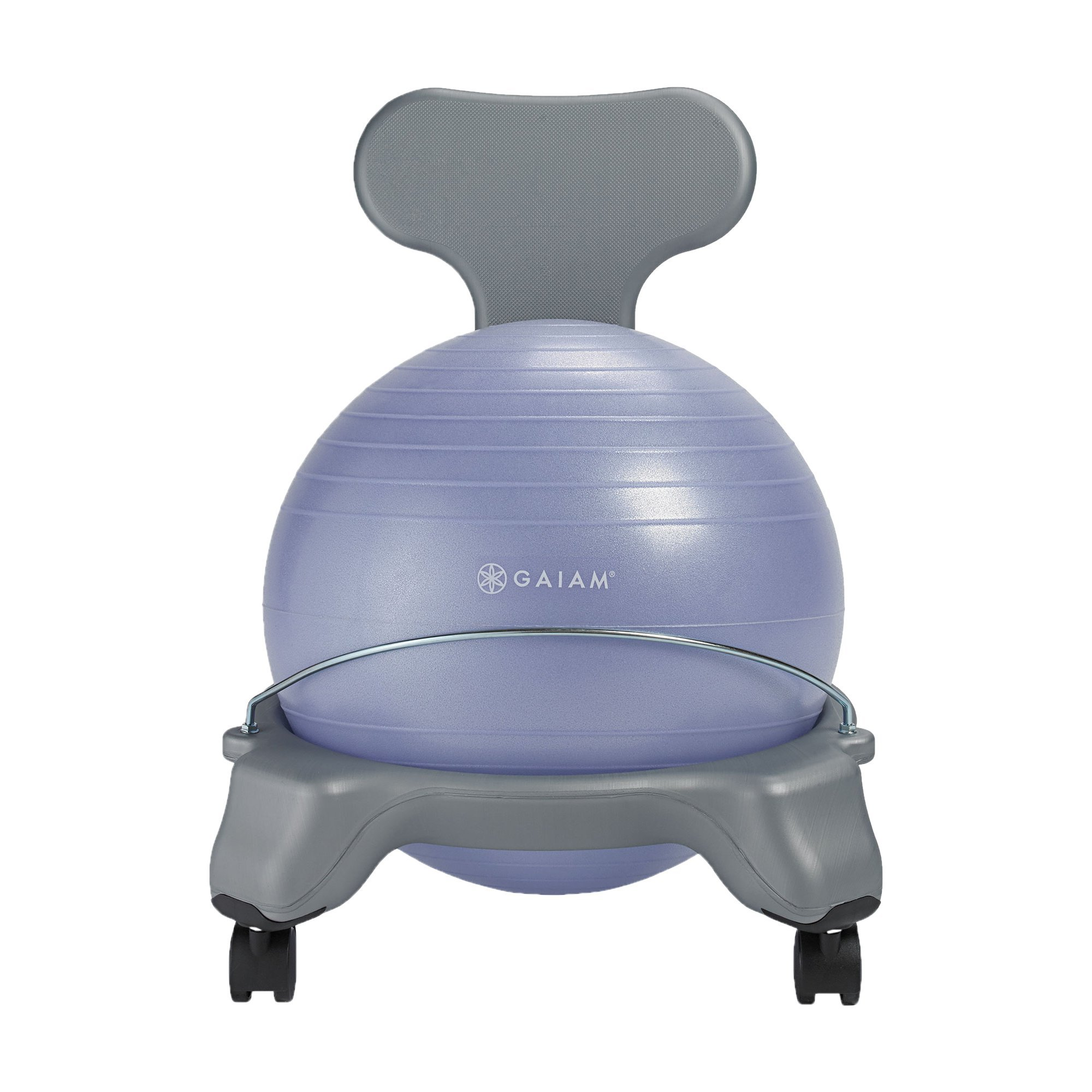 Gaiam Kids Balance Ball Chair - Classic Kid's Stability Ball Chair, Alternative School Classroom Flexible Desk Seating for Active Students with Satisfaction Guarantee, Purple (Renewed)