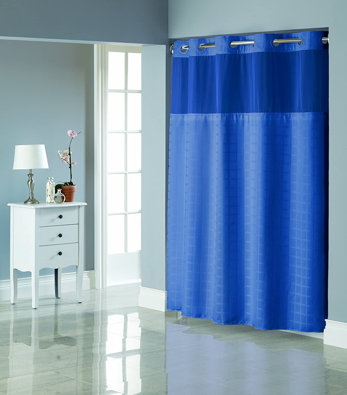 Hookless shower curtain with snap liner - Amazon Com Hookless Rbh27my919 Square Tile Jacquard Shower Curtain With Snap In Fabric Liner Moonlight Blue Home Kitchen