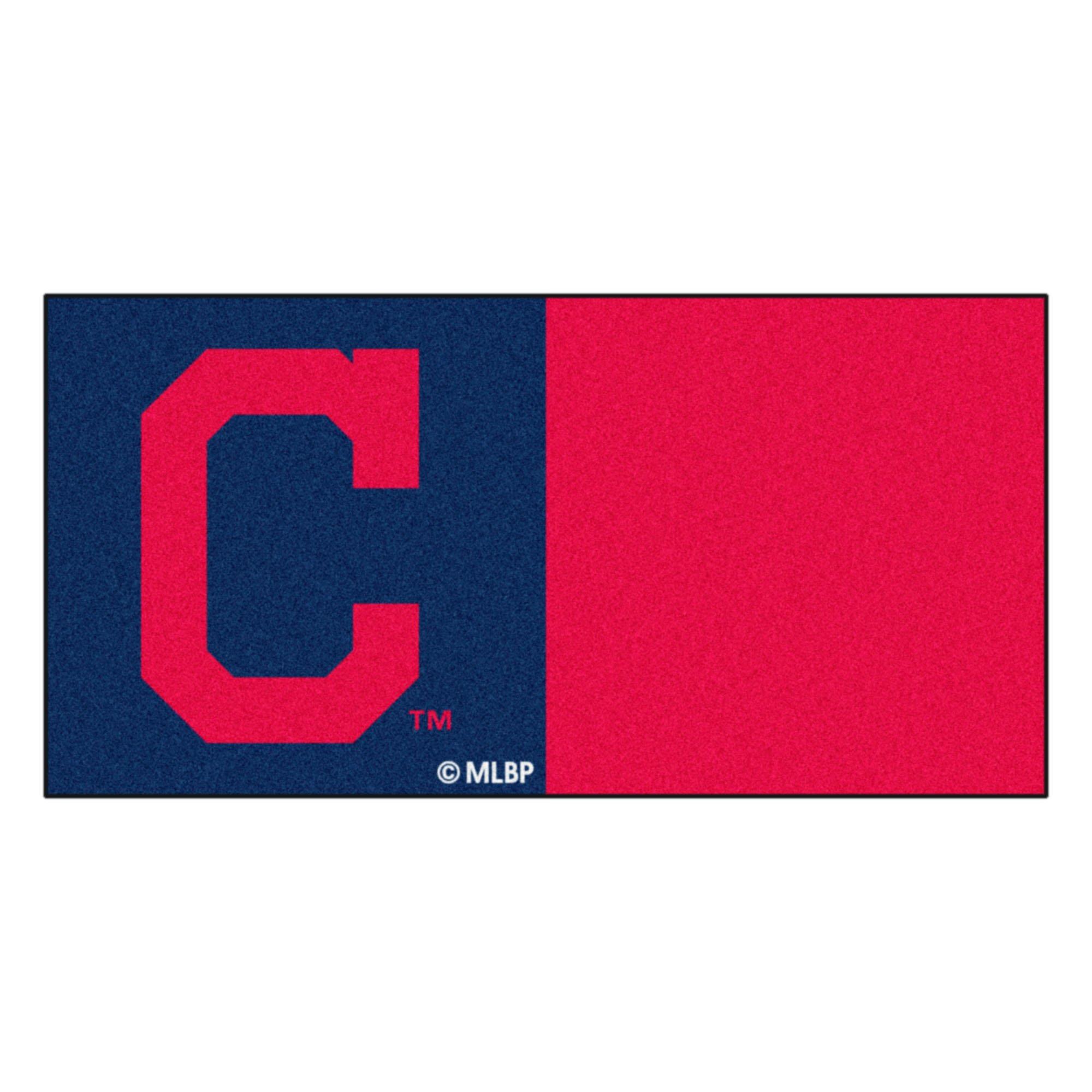 MLB Cleveland Indians ''Block-C'' Carpet Tiles, 18'' x 18''/Small, Black