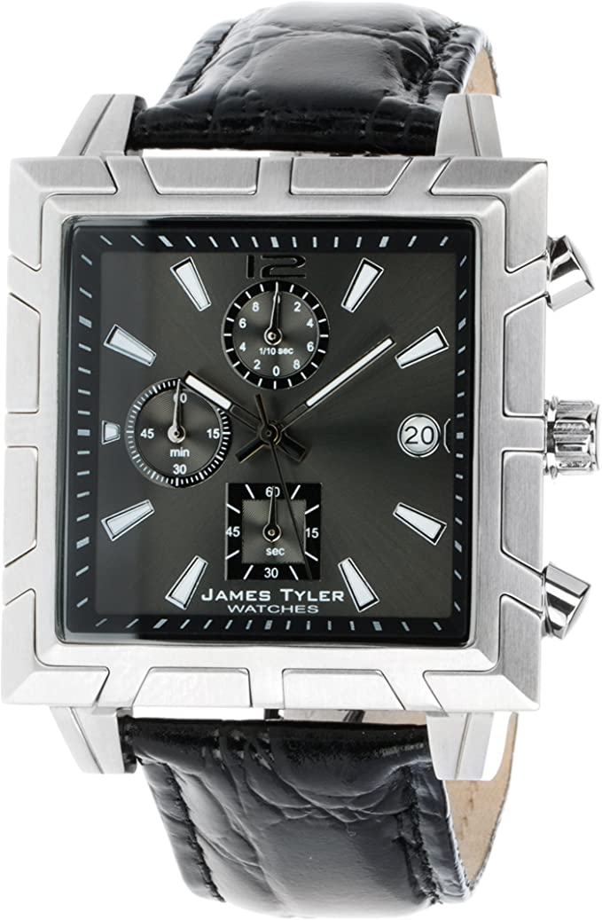 James Tyler Herren Armbanduhr Quarz Chronograph Quadratisch Edelstahl Gebürstet Jt710 1 Amazon De Uhren