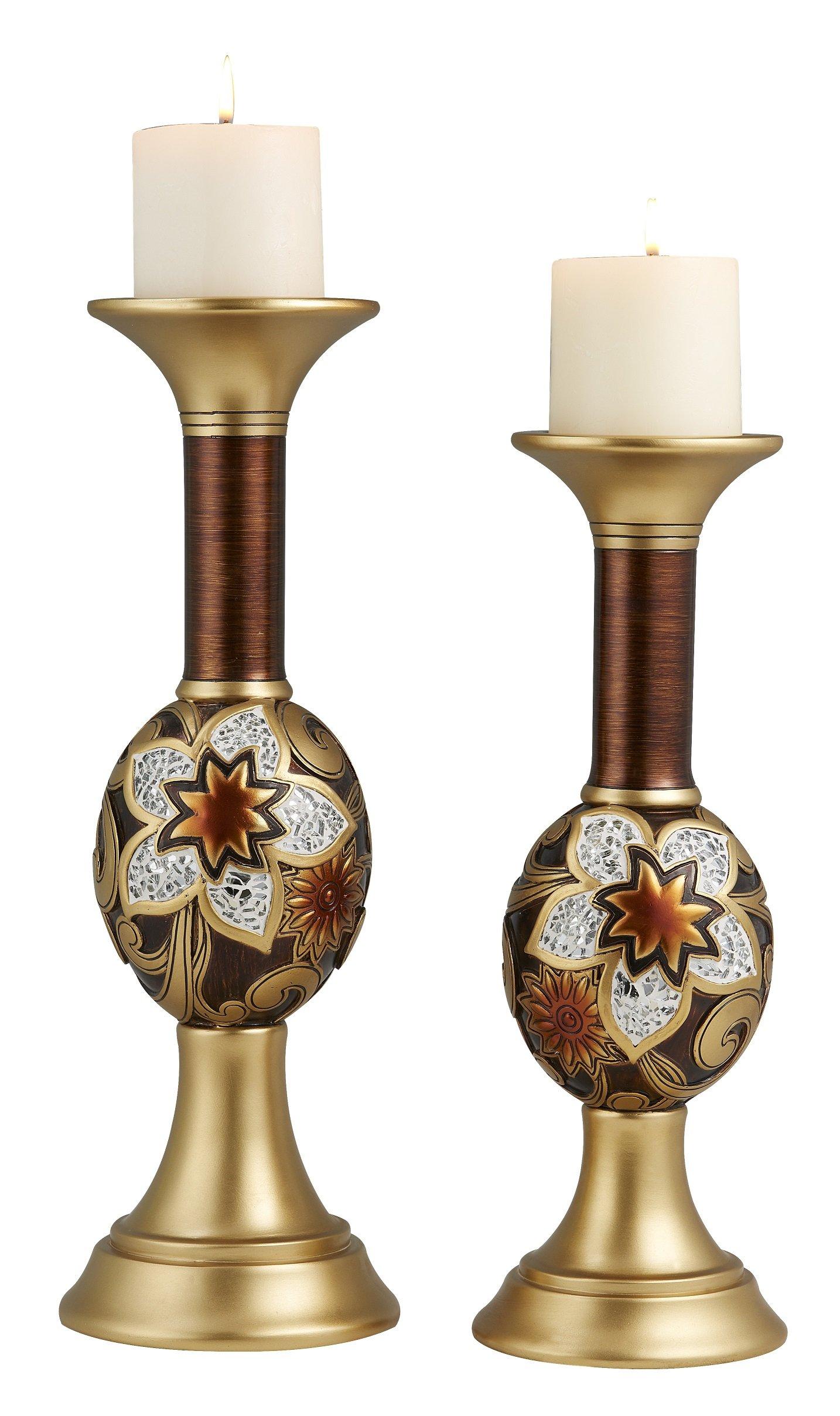 OK Lighting OK-4282C Azalea Candleholder Set of 2 (14'' & 16''H),,