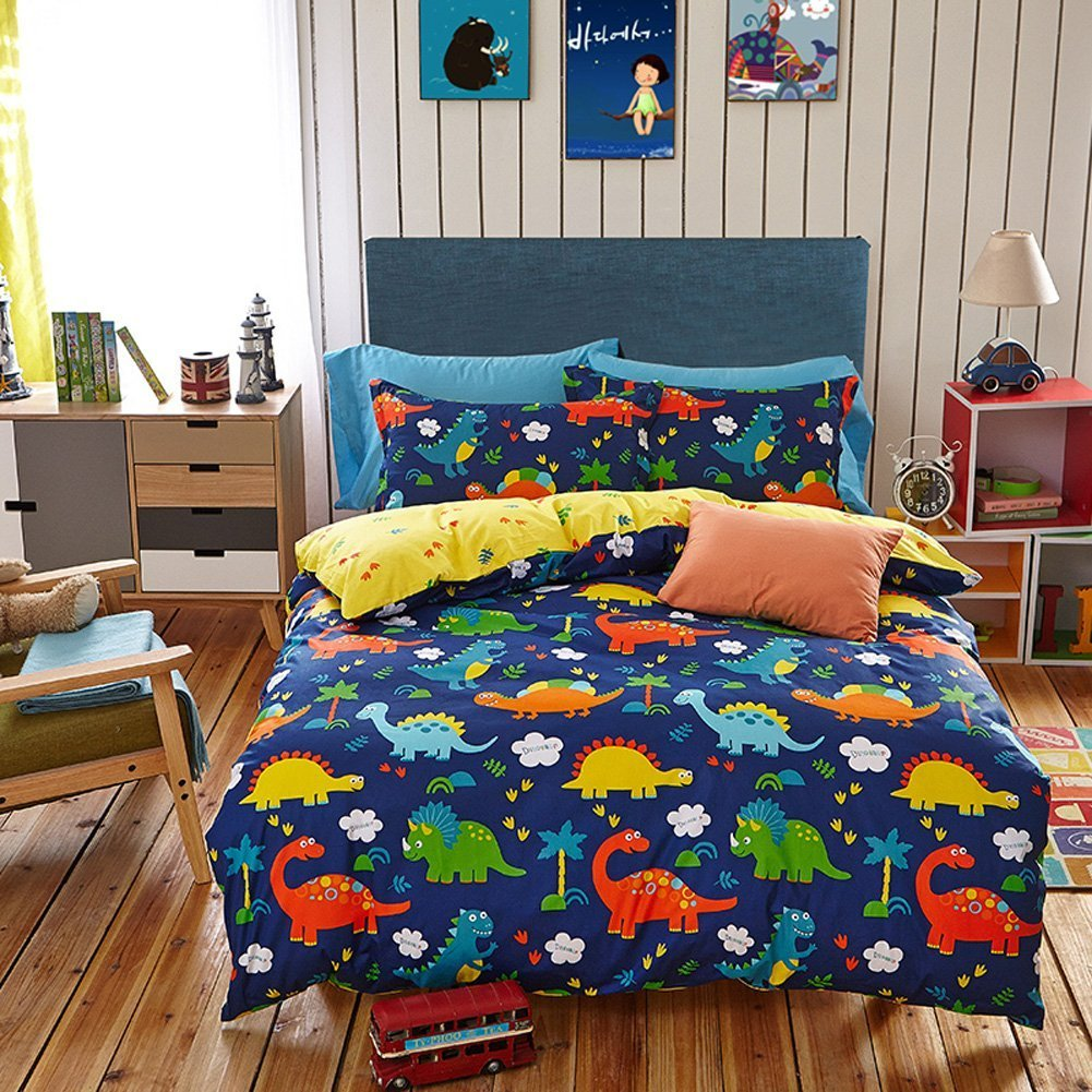 Eikei Home Dinosaurs Bedding Children Boys or Girls Fun Dinos Twin Full Toddler Colorful Duvet Cover and Sheet Set Bright Multicolored Green Blue Orange Yellow Full, Light Blue
