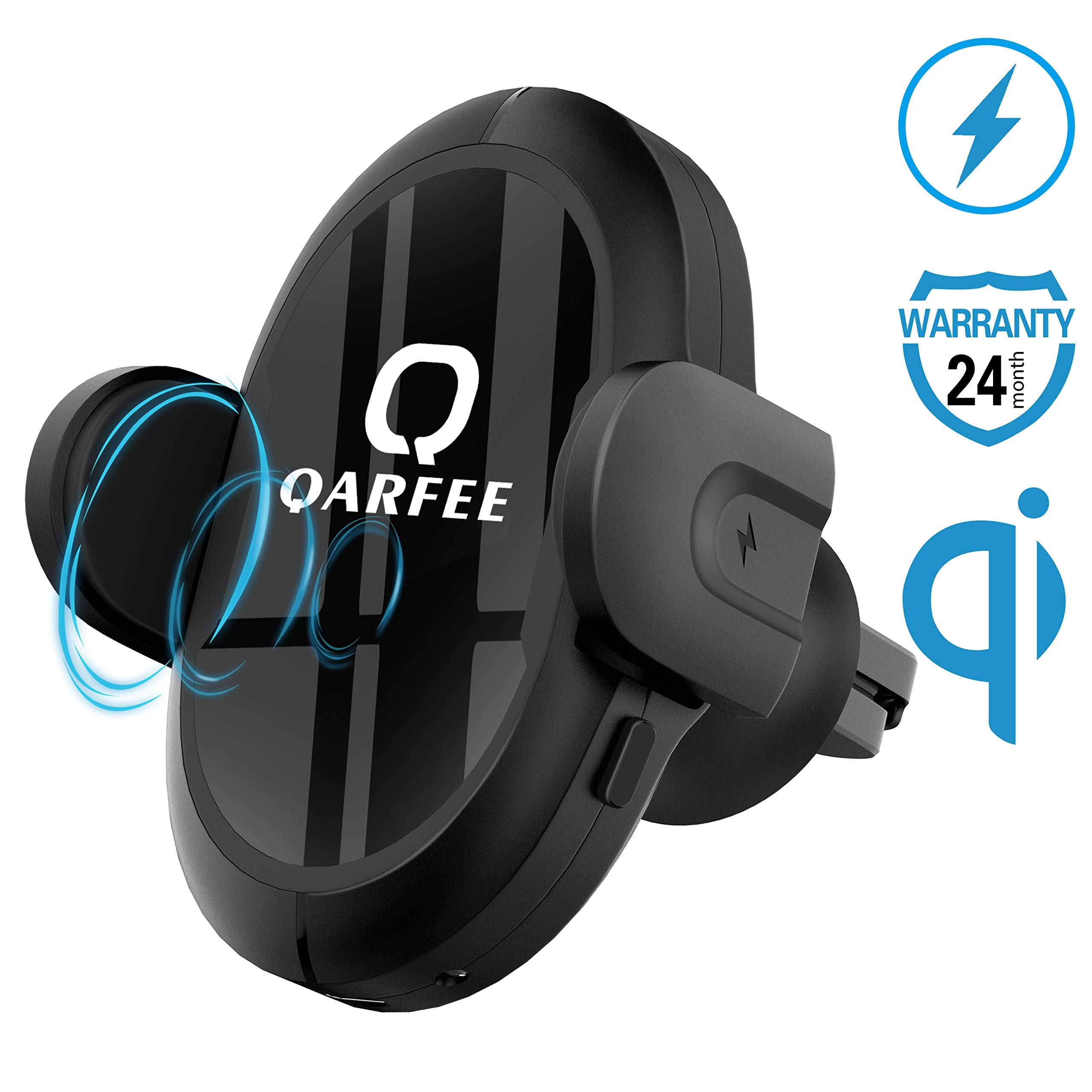 Qarfee Wireless Car Charger Multi-Funtion Phone Holder Car Mount 7.5W / 10W Fast Charging Easy One Touch Cell Phone Air Vent Charger Holder for iPhone Samsung Moto and Android Smartphones