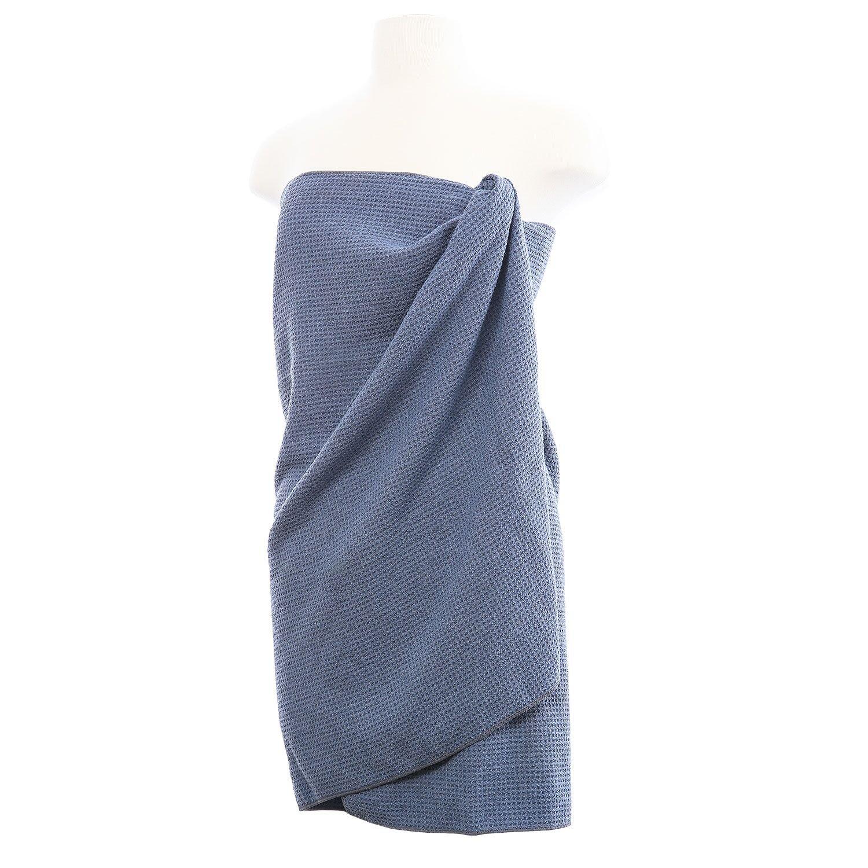 AQUIS - Waffle Body Towel, Ultra Absorbent & Fast Drying Microfiber Towel, Dark Grey (29 x 55 Inches)