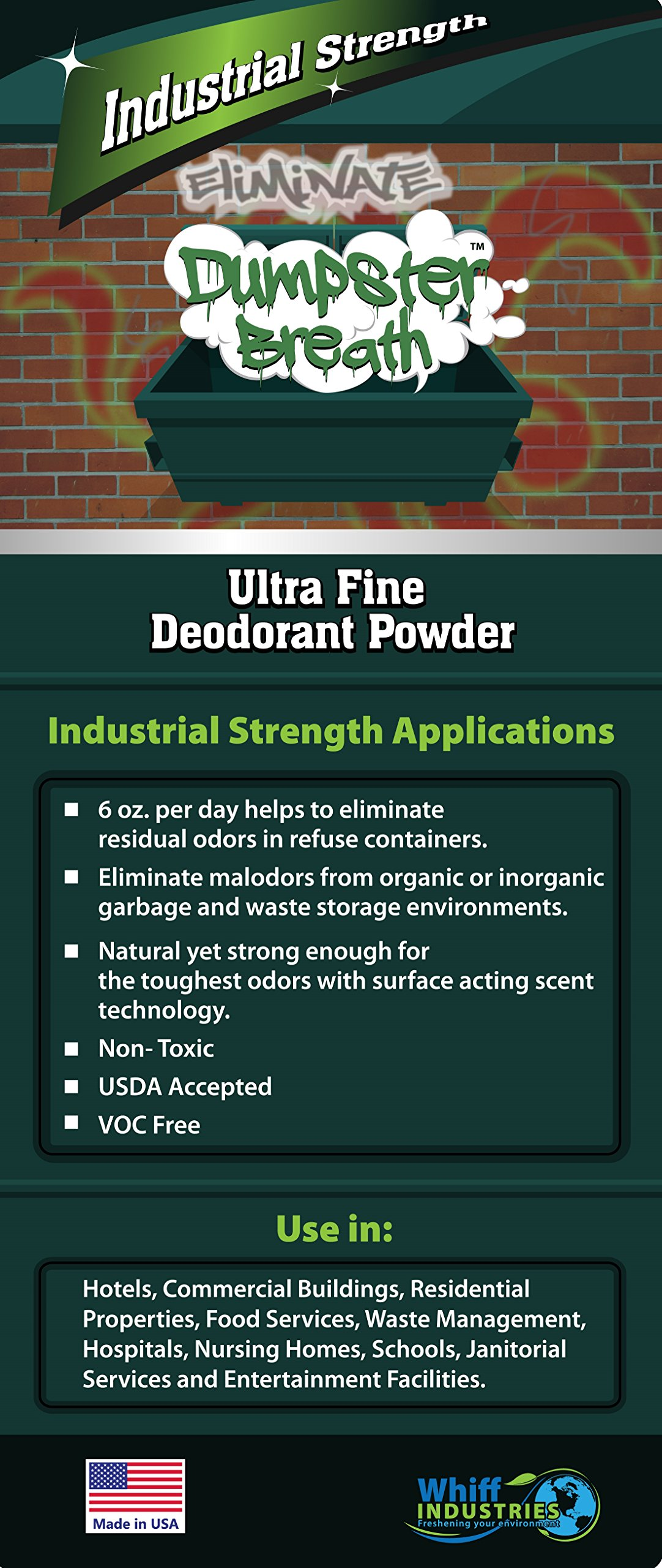 Dumpster Breath® Heavy Duty Commercial Odor Control Ultra Fine Deodorant Powder For All Solid Waste Management Environments. Eliminates Odors in Dumpsters, Trash Cans and Anywhere Residual Odors Can Occur - 5 Gallon Bucket (45lbs.)