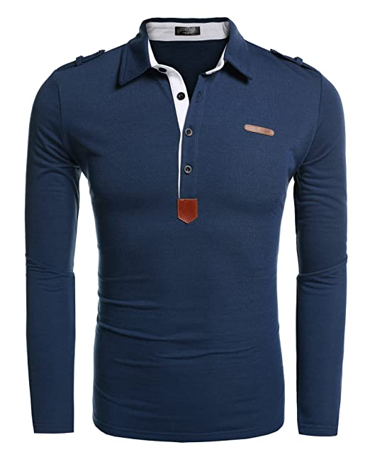 Coofandy Camiseta de Hombre, de manga larga, Polo, cuello ...