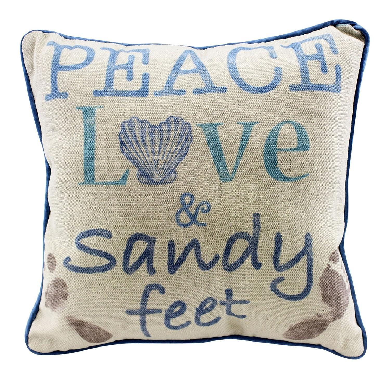 Beachcombers Coastal Life Peace Love and Sandy Feet Natural Decorative Beach 12 Inch Throw Pillow COMINHKR004601