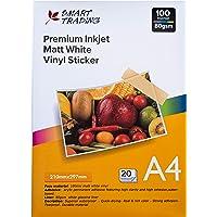 Premium Matt White Vinyl Sticker Paper for Inkjet Printers, 20 Sheets Waterproof Fast Drying, A4 210mm x 297mm, Strong…