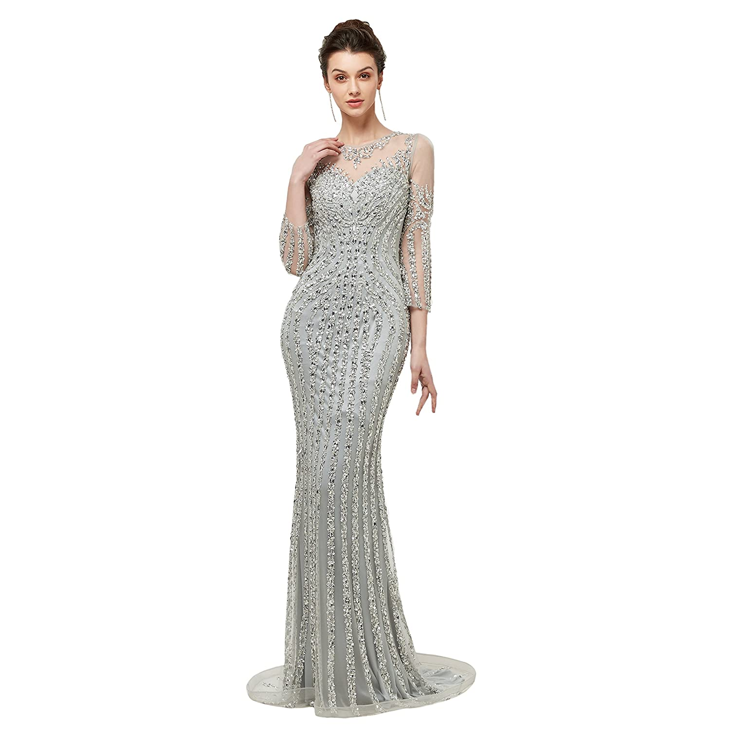d20ca72e Lazacos Women's Luxury Beading Crystals Prom Dress Sexy Mermaid Evening  Party Formal Gown at Amazon Women's Clothing store: