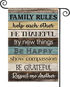 AVOIN Family Rules Slogan Wood Garden Flag Vertical Double Sized, Help Each Other Respect One Another Yard Outdoor Decoration 12.5 x 18 Inch
