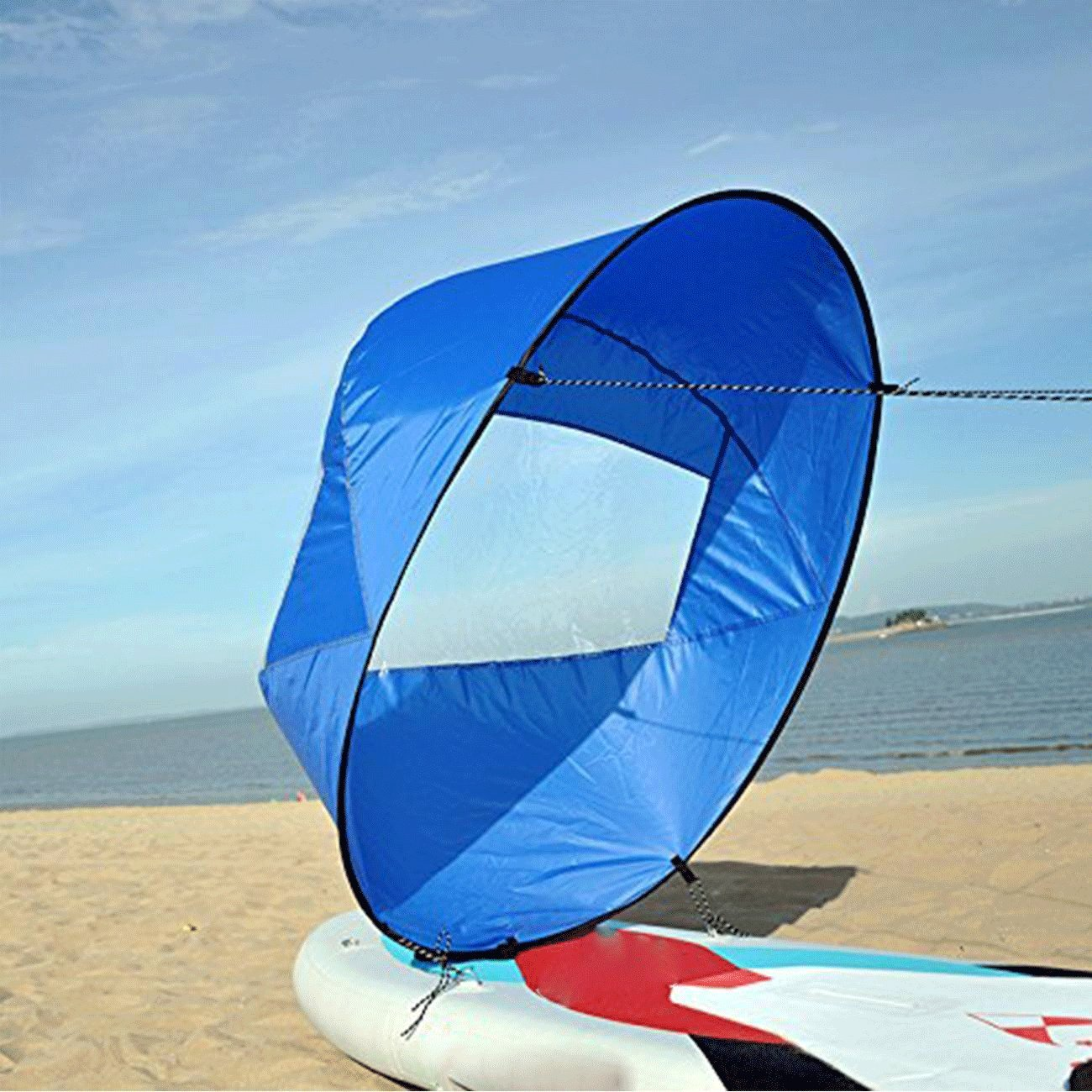 WICHEMI 42'' Durable Downwind Wind Sail Sup Paddle Board Instant Popup for Kayak Boat Sailboat Canoe Foldable Style Blue
