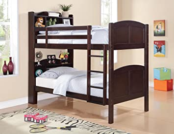Amazon Coaster Parker Bookcase Twin over Twin Bunk Bed