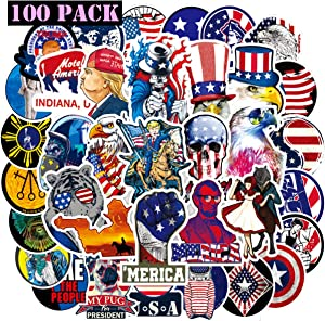 EHOPE Patriotic Sticker American Flag Stickers 4th of July America Independence Stickers Laptop Waterproof Vinyl Computer Waterbottle Car Skateboard Motorcycle Bicycle Luggage Decal(100PACK)