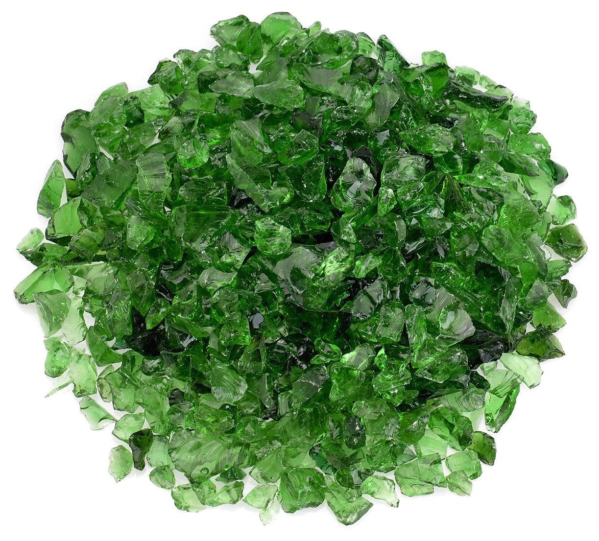 American Fireglass Light Green Recycled Fire Pit Glass - Small (12-18Mm), 55 lb. Bag