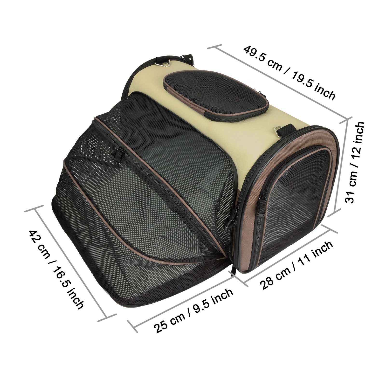 Becko Expandable Foldable Pet Carrier Travel Handbag with Padding and Extension (Brown)