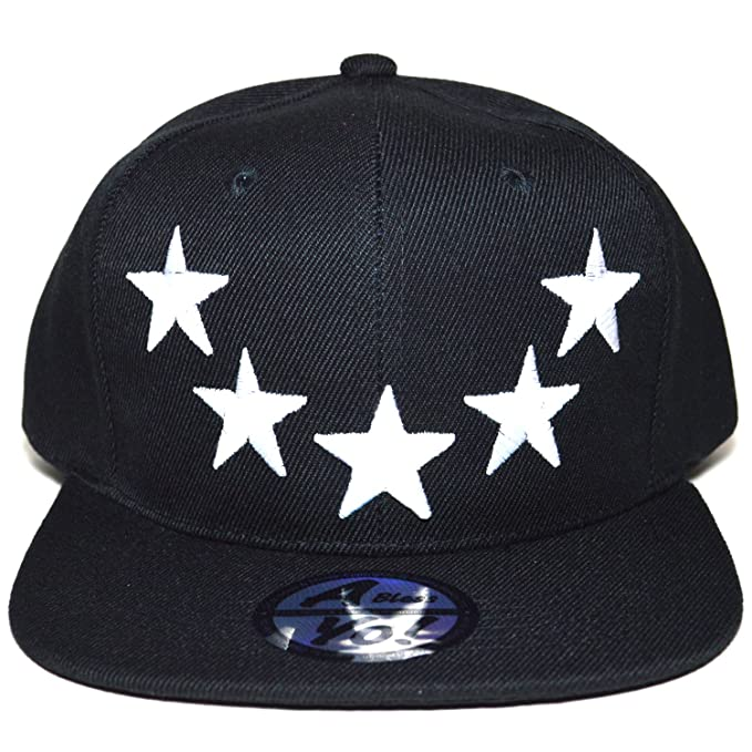 56a5f2e2851 5 Stars Embroidered Snapback twill Flat Bill Cap Baseball Football Hat  AYO3027 (BLACK)