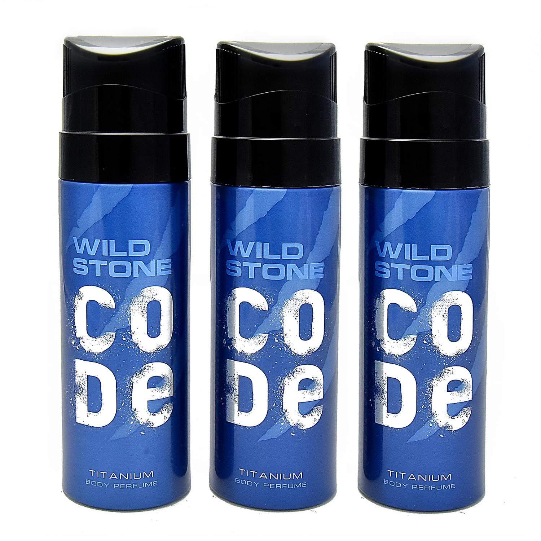 Wild Stone Code Titanium Body Perfume Spray Pack of 3