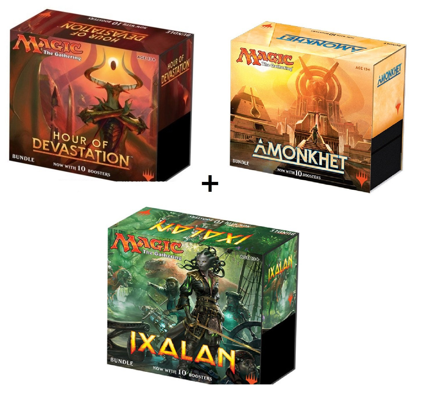 Magic the Gathering: Amonkhet, Hour Of Devastation (HoD), & Ixalan Sealed MTG Bundle Box (Fat Packs) 30 Boosters Perfect for Kids Teens Adults Collectors and Beginners by Wizards of the Coast