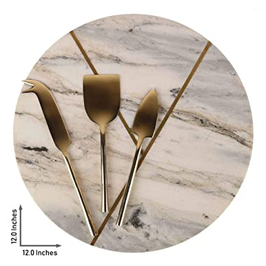 GAURI KOHLI Beautiful Marble & Brass Cheese Board/Charcuterie Platter; With Set Of 3 Brass Cheese Knives (Size Large | Shape Round | Color Gray)