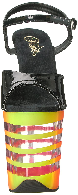Pleaser Women's Flam809uvln/b/n-Uvln Platform Sandal B01NARYL4O 9 B(M) US|Blk Pat/Neon-uvln