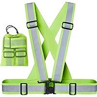 Xcelenze - Premium Warnweste running Reflektorweste laufen Sicherheitsweste sport gelb für Erwachsene, Kinder | elastisch, leicht, einstellbar | Sichtbar für Jogger, Fahrrad, Motorrad, Joggen + Tasche