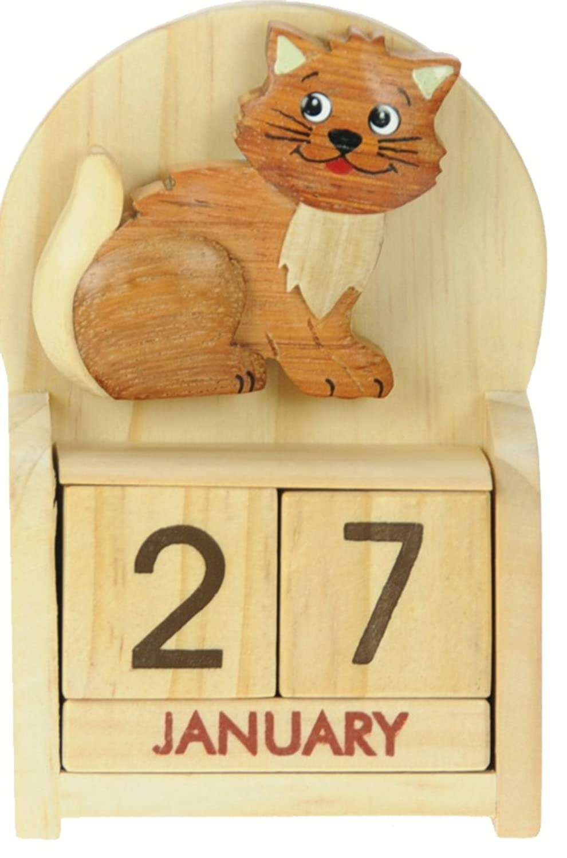 Katze : Ewiger Kalender : handgefertigte Holz: Größe 10.5x7x3.5cm ...