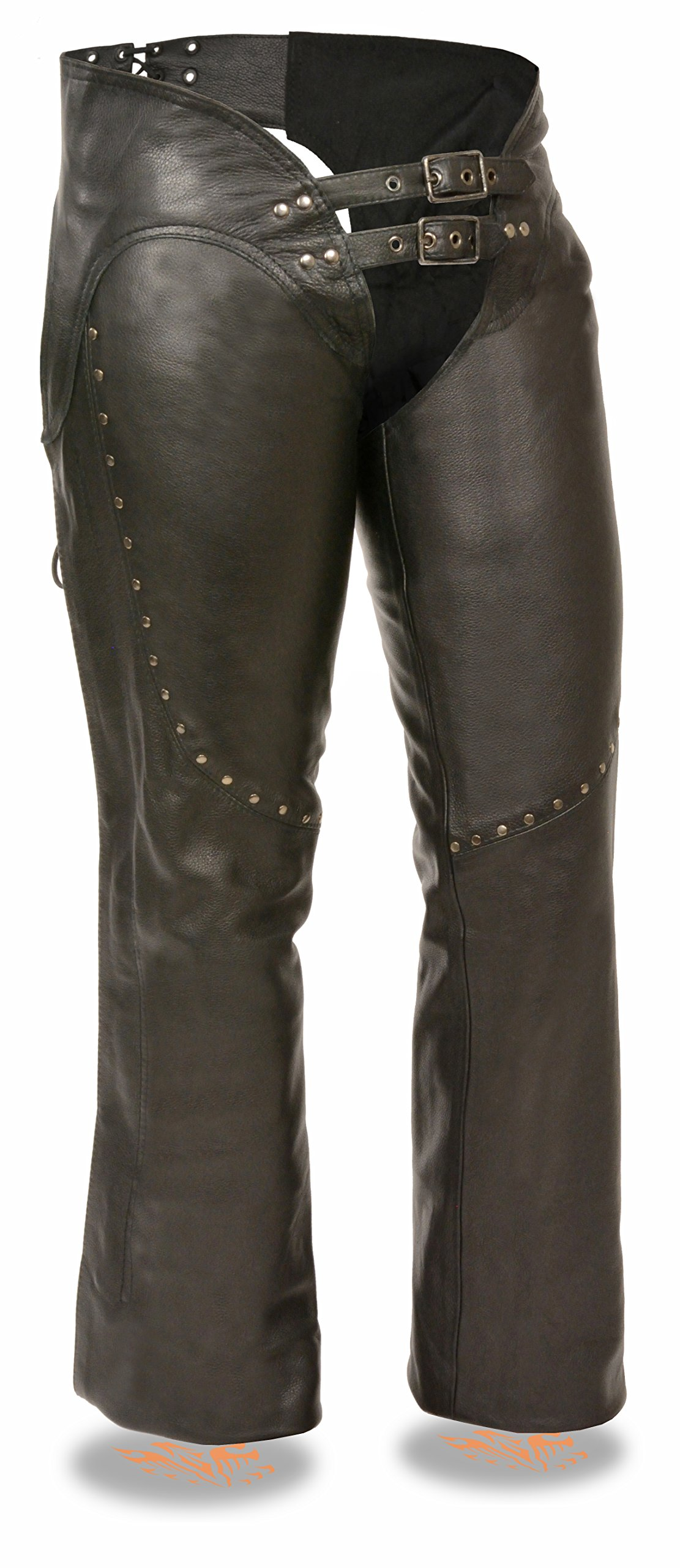 Milwaukee Women's Low Rise Double Buckle Leather Chaps (Black, XXX-Small)