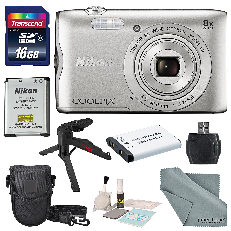 Nikon COOLPIX A300 Digital Camera W/ Basic Bundle, Transcend 16GB, TableTop/ Handgrip Tripod + Battery + Case + SD Reader/Writer + Cleaning Accessories