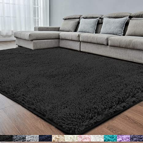 Black Soft Area Rug For Bedroom 2x4 Fluffy Rugs Shaggy Rugs For Girls Boys Room Furry Rugs For Baby Kids Room Shag Carpet For Dorm Nursery Room Bedside Rug Anti Slip Rug