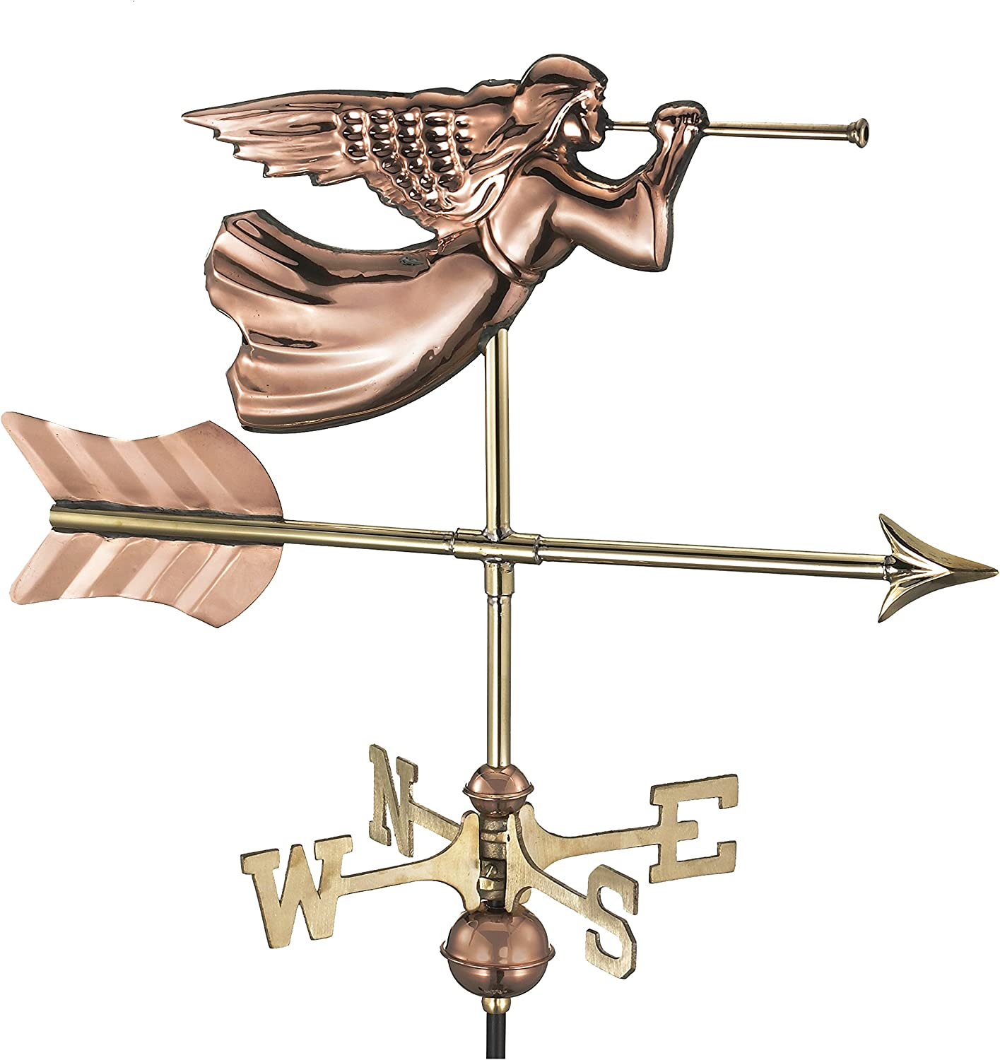 Good Directions 819PG Angel Garden Weathervane, Polished Copper with Garden Pole