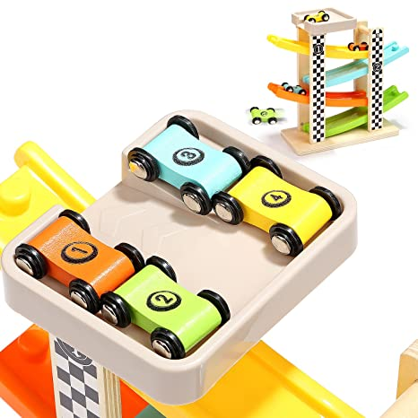 Amazon Com Top Bright Wooden Car Ramp Racer Track Vehicle Playsets
