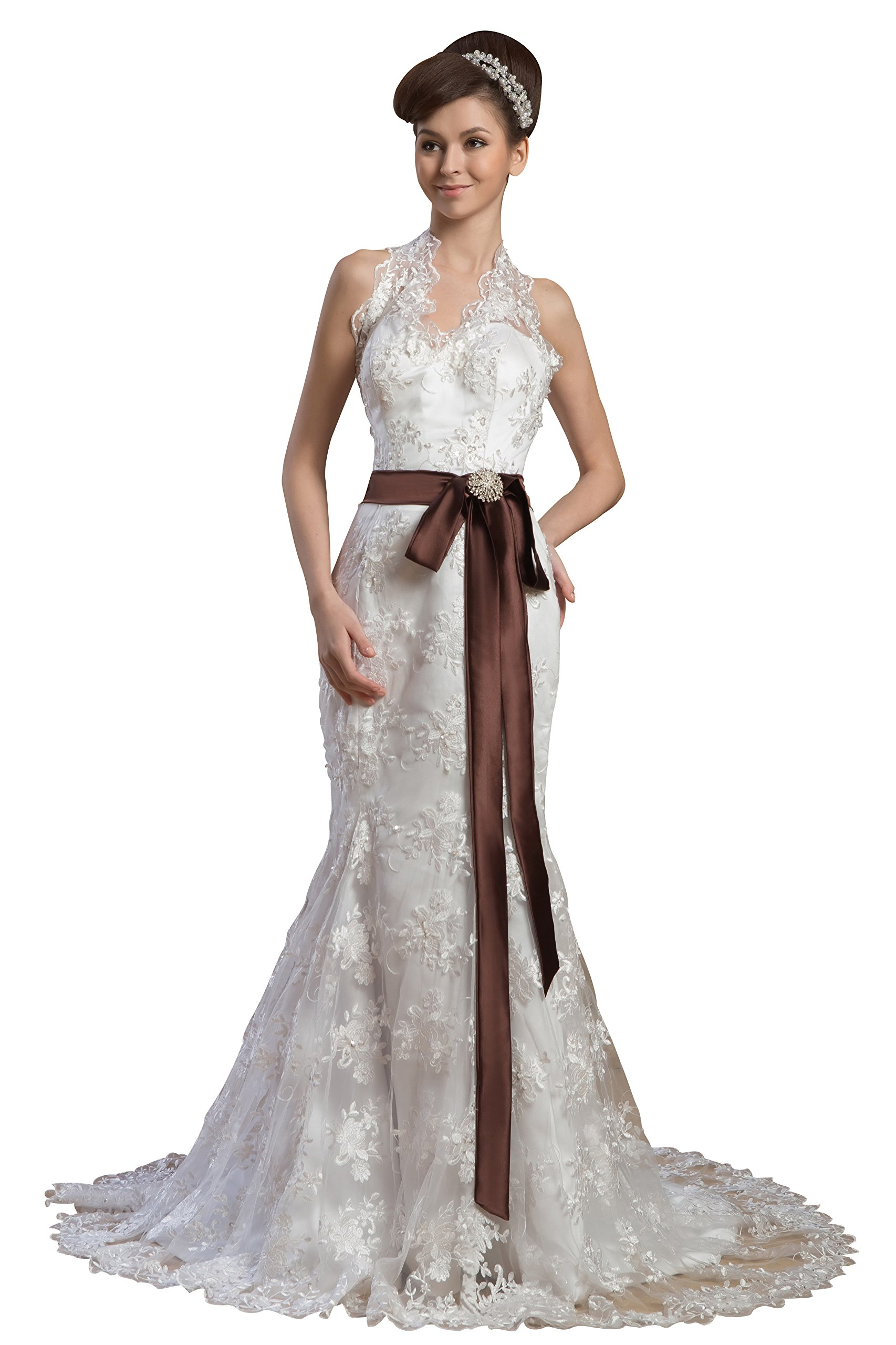 Vogue007 Womens Halter Satin Pongee Wedding Dress with Embroidery, ColorCards, 18