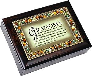 Cottage Garden The Perfect Grandma Italian Style Wood Finish Jewel Lid Musical Jewelry Box Plays Wind Beneath My Wings