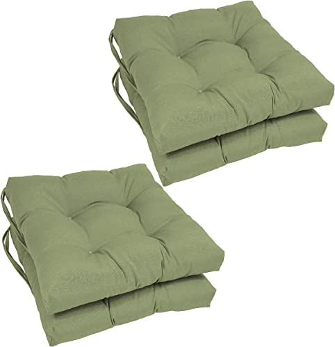 Blazing Needles Solid Twill Square Tufted Chair Cushions Set of 4