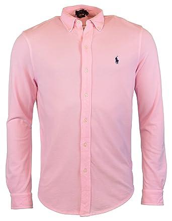 88f2554f4 Polo Ralph Lauren Men s Long Sleeve Featherweight Mesh Button Front Shirt ( Pink
