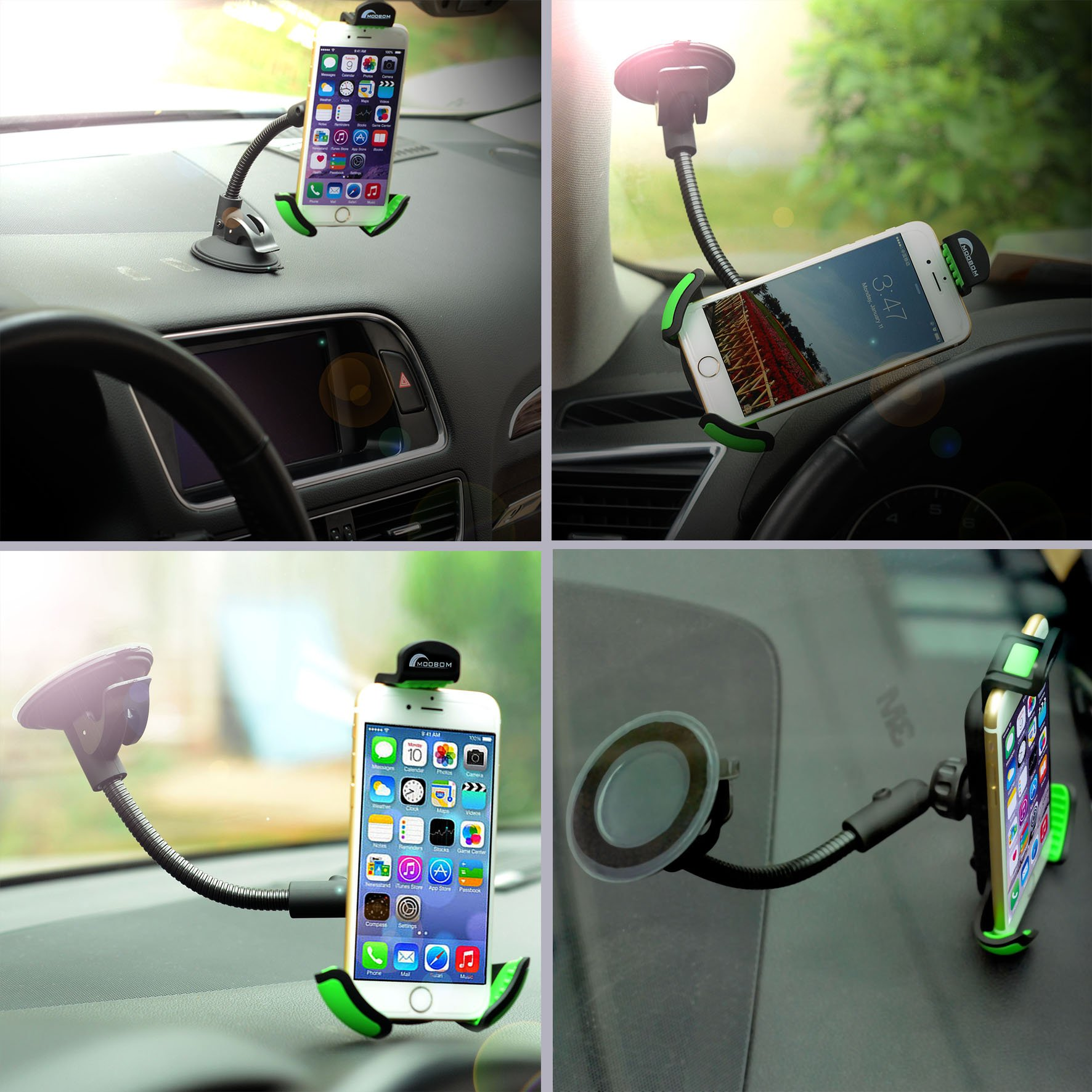 Moobom Car Mount Long Arm Suckers Handsfree Holder With 360 Degree Rotation Suction Cup Cradle on Universal Windowsheild Dashboard for iPhone Samsung Various Smartphones