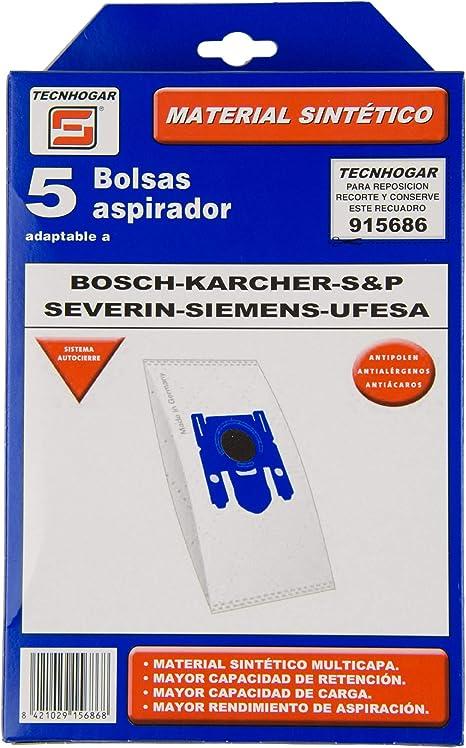 REMLE - Bolsa Aspirador Tecnhogar Blanca - 915686 - Bosch Karcher Ufesa Severin - 5 Unidades: Amazon.es: Hogar