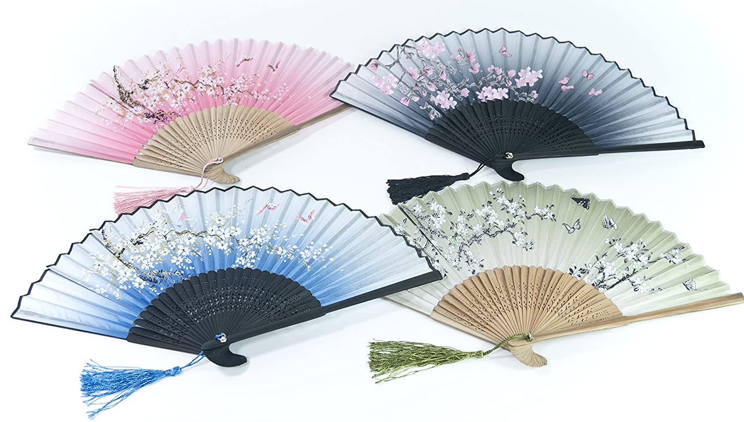 All In One Chinese//Japanese Vintage Retro Style Hand Held Folding Fan Bamboo Frame Butterfly Flower Pattern with Sleeve /& Grift Box for Craft Home Party Event Decoration Grift Purple-Sakura