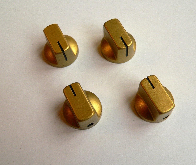 Jellyfish Audio - Perillas pequeñas para radios de válvula y amplificadores o pedales de guitarra - Juego de 4 - Dorado