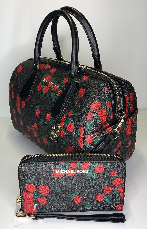 c9142b1021410c Amazon.com: MICHAEL Michael Kors Hayes Large Duffle Satchel bundled with Michael  Kors Jet Set Travel Large Phone Wallet Wristlet (Signature MK Black/Red ...