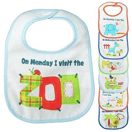 Algodón bebé baberos Bundle Set para niños niñas bebés recién nacidos Niños Niños Niños Unisex Multipack suave grandes animales zoo ...